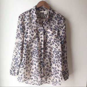 Mudd Sheer Animal Leopard Print Button Front Top